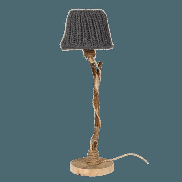 Holz Tischlampe anthrazit