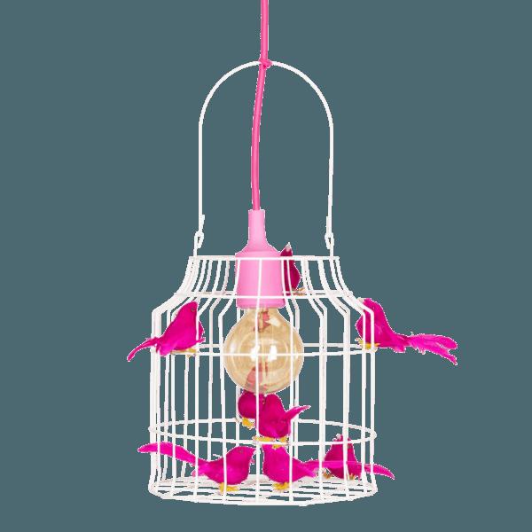 Hängelampe Vögeln fuchsia