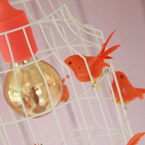 Hängelampe Vögeln orange Kinderzimmer