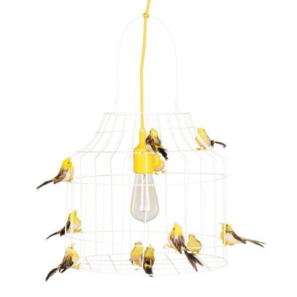 pendelleuchte Vögel gelb