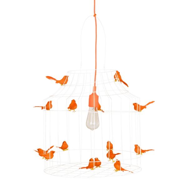 Pendelleuchte Vögeln orange