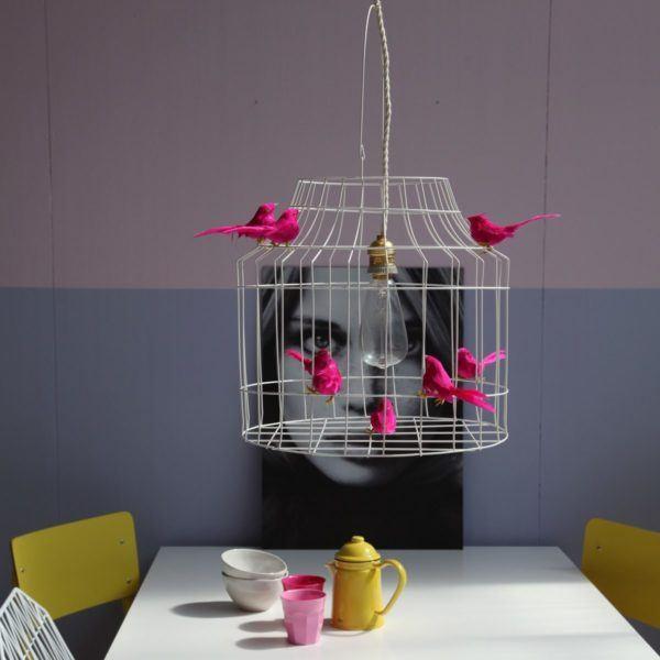 Pendelleuchte Vogelkäfig fuchsia