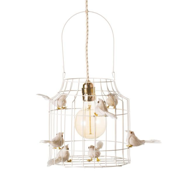 Deckenlampe weiß Vögel