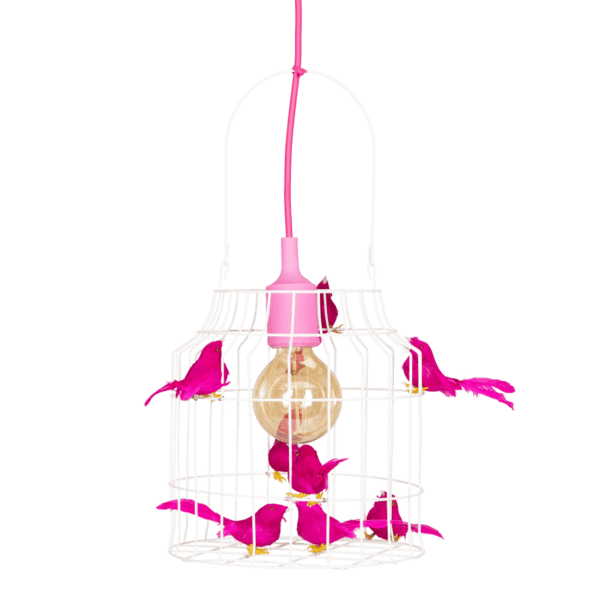 Hängelampe Vögel fuchsia