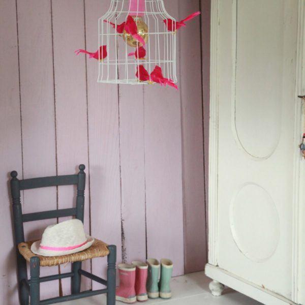 Hängelampe Vögel Mädchenzimmer rose