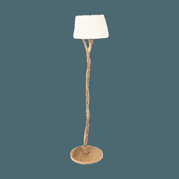 Holzern Stehleuchte Wollen Lampenschirm