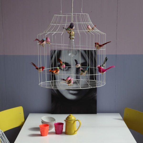 Hängeleuchte Küche Metall Vögel