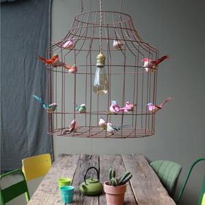 Pendelleuchte Esstisch Vögel Vogelkaefig vintage